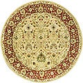 Handmade Mahal Ivory/ Rust New Zealand Wool Rug (8' Round)