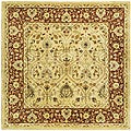 Handmade Mahal Ivory/ Rust New Zealand Wool Rug (8' Square)