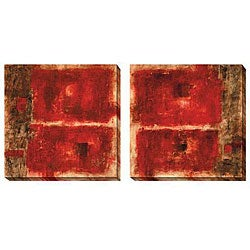 Jane Bellows 'Quality Control Red' Oversized Square Canvas Art Set