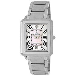 Le Chateau Men's Diamond-accented White Stainless Steel Watch