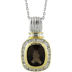 18k Gold/ Silver Created Smokey Quartz and 1/10ct TDW Diamond Necklace