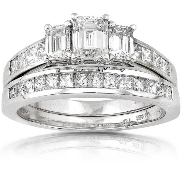 Annello 14k Gold 2ct TDW Emerald-cut Three Stone Diamond Bridal Ring Set (H-I, SI1-SI2)