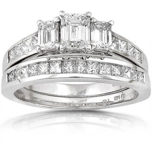 Annello 14k Gold 2ct TDW Emerald cut Three Stone Diamond Bridal Ring Set H I