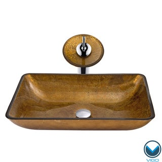 Vigo Rectangular Atlantis Glass Vessel Sink w/Matching Faucet and Pop-up Drain