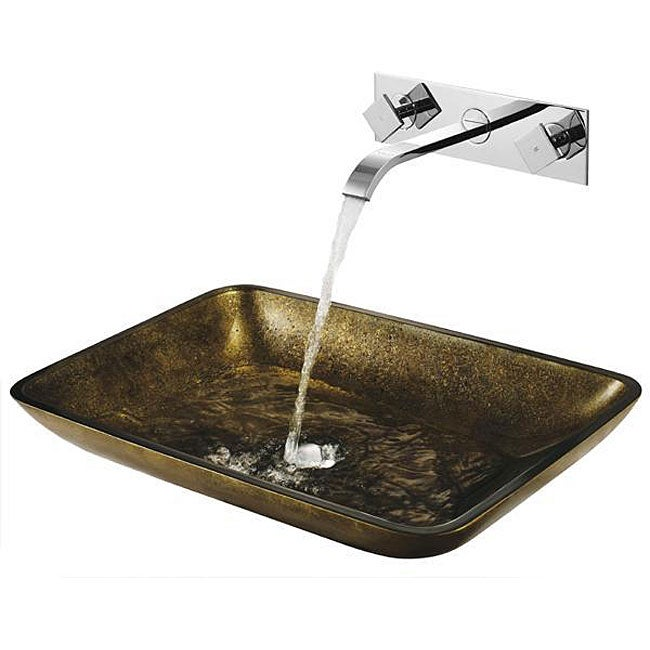 ... Copper Glass Vessel Sink and Titus Wall Mount Faucet in Brushed Nickel