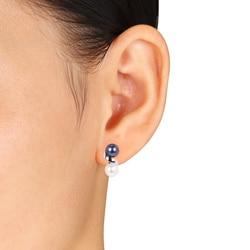 Miadora 10k White Gold Black and White Freshwater Pearl Earrings (6-7 mm)