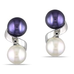 Miadora 10k White Gold Black and White Freshwater Pearl Earrings (6-7 mm)
