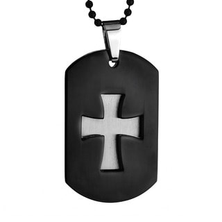 Crucible Stainless Steel Men's Two-piece Laser Cutout Cross Necklace