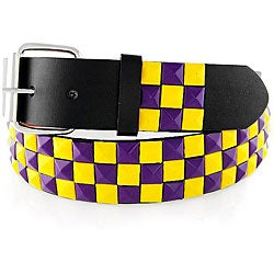 Men's Purple/ Yellow Studded Faux Leather Belt
