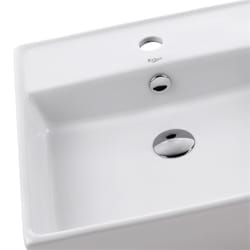 Kraus Square White Ceramic Vessel Bathroom Sink