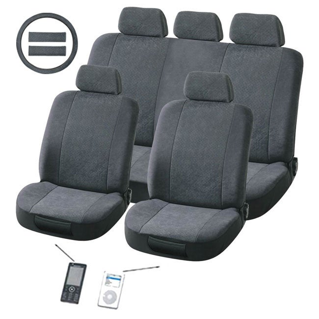Plush Classic Grey 12-piece Universal Fit Seat Cover Set (Airbag-friendly)