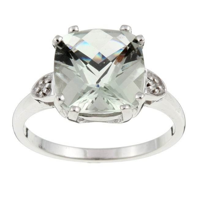 10k White Gold Green Amethyst and Diamond Ring