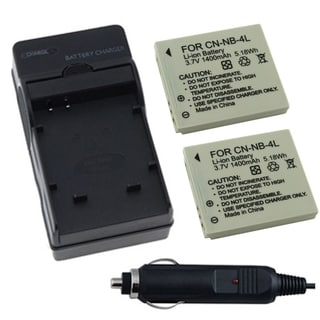 Two Batteries/ Charger for Canon NB-4L Powershot