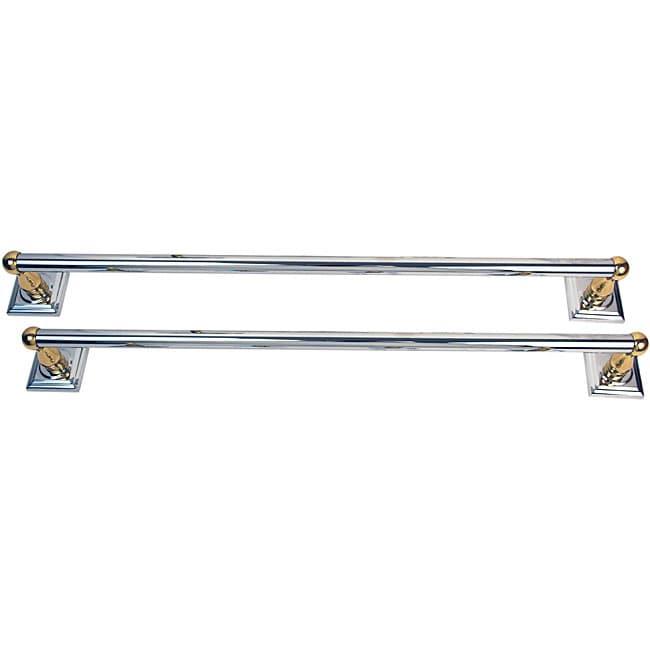 Moen Monaco Chrome and Brass 2-piece 24-inch Towel Bar Set