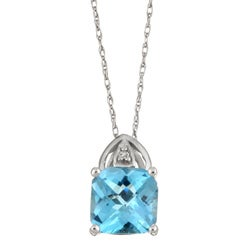 10k White Gold Blue Topaz and Diamond Necklace