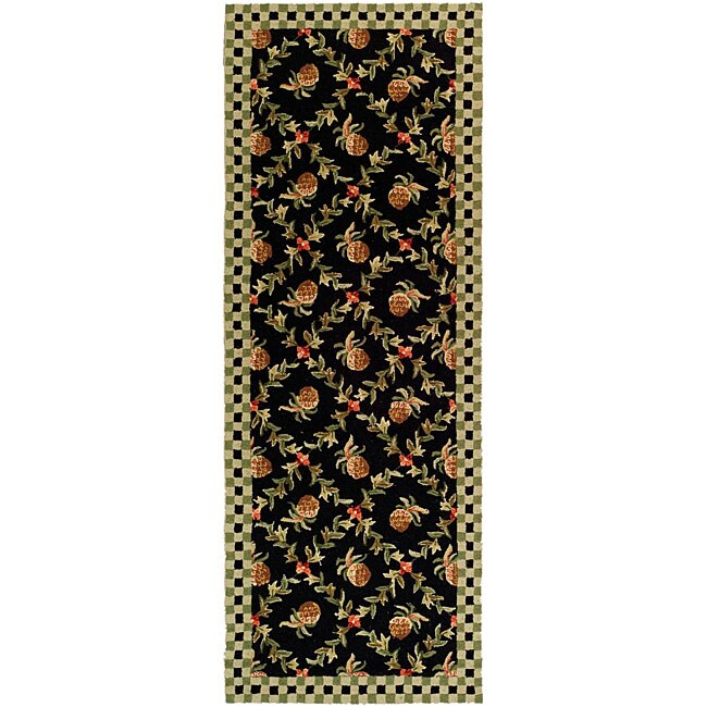 safavieh hand hooked pineapple trellis black ivory wool rug 3 39 x 8 39 overstock shopping. Black Bedroom Furniture Sets. Home Design Ideas