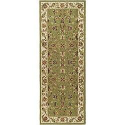 Hand-hooked Chelsea Tabriz Sage/ Ivory Wool Runner (3' x 6')