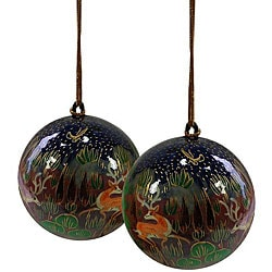 Set of Two Reindeer Ornaments (India)