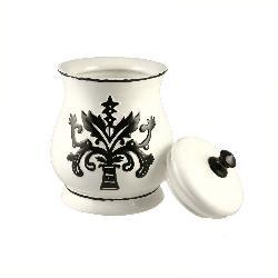 Hand-painted Black and White 4-piece Canister Set