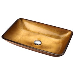 Kraus Golden Pearl Rectangular Glass Vessel Bathroom Sink