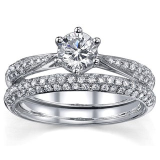 18k White Gold 1ct TDW Certified Round Solitaire Pave Band Diamond Bridal Set (H-I, SI1-SI2)