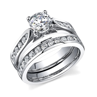 18k White Gold Certified 1 2/3ct TDW Diamond Bridal Set (H-I, SI1)