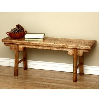 Rustic Mongolian Mahogany Wood Bench (Indonesia)