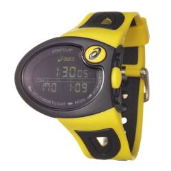 Asics Men's 'Active Running' Yellow and Black Rubber Strap Digital Watch