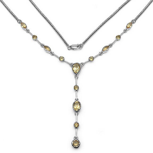 Malaika Sterling Silver Citrine Drop Necklace