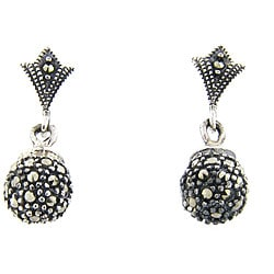 Dolce Giavonna Sterling Silver Marcasite Ball Drop Earrings