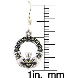 Dolce Giavonna Sterling Silver Marcasite Claddagh Design Drop Earrings