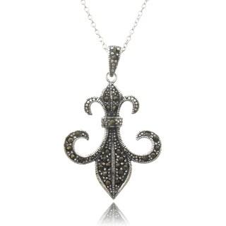 Dolce Giavonna Sterling Silver Marcasite Fleur De Lis Necklace