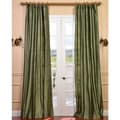 Signature Green Textured Silk 84-inch Curtain Panel