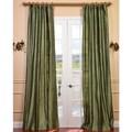 Signature Green Textured Silk Curtain Panel