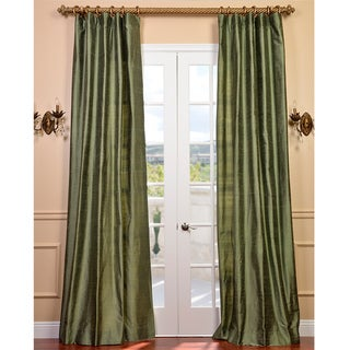 Signature Green Textured Silk 108-inch Curtain Panel