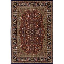 "Hand-Tufted Mandara Red New Zealand Wool Oriental Rug (7'9"" Round)"