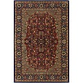 "Hand-Tufted Mandara Red New Zealand Wool Oriental Rug (7'9"" Round)"