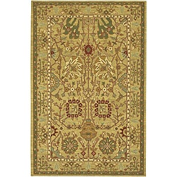 Hand-knotted Beige New Zealand Wool Mandara Rug (5' x 7'6)