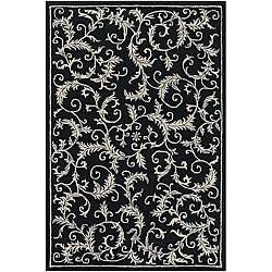Hand-Tufted Mandara Black Wool Area Rug (7'9