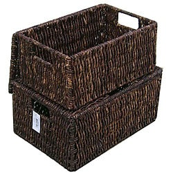 Woven Grass Rectangular Lidded Storage Baskets (Set of 2)