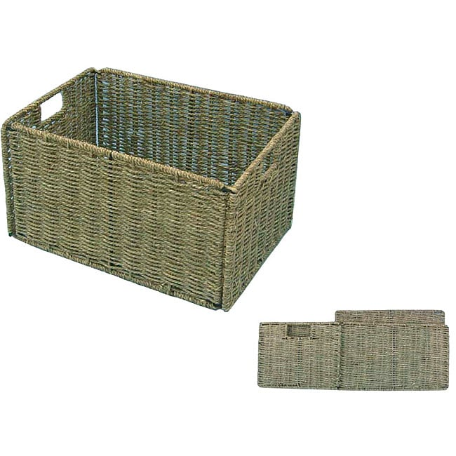 Woven Grass Knock Down Rectangular Storage Baskets Case