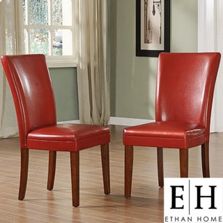 ETHAN HOME Charlotte Faux Leather Dining Chairs Red (Set of 2)