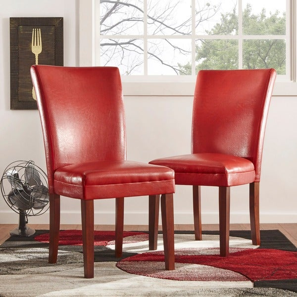 TRIBECCA HOME Charlotte Faux Leather Dining Chairs Red (Set of 2)