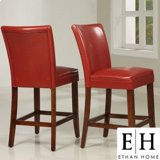 ETHAN HOME Charlotte Faux Leather Counter-height Chairs (Set of Two)
