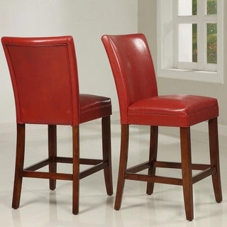 TRIBECCA HOME Charlotte Faux Leather Counter-height Chairs (Set of Two)