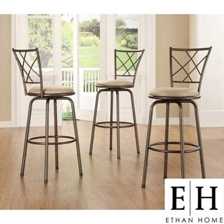 ETHAN HOME Avalon Quarter Cross Swivel Counter Barstool (Set of 3)