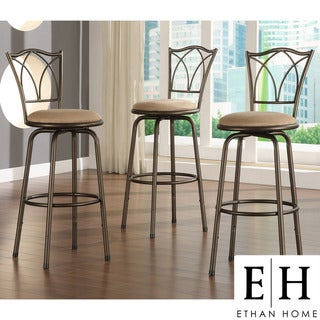 ETHAN HOME Avalon Double Cross Swivel Counter Barstool (Set of 3)