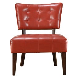 Charlotte Red Faux Leather Armless Accent Chair