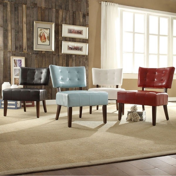 TRIBECCA HOME Charlotte Faux Leather Armless Accent Chair