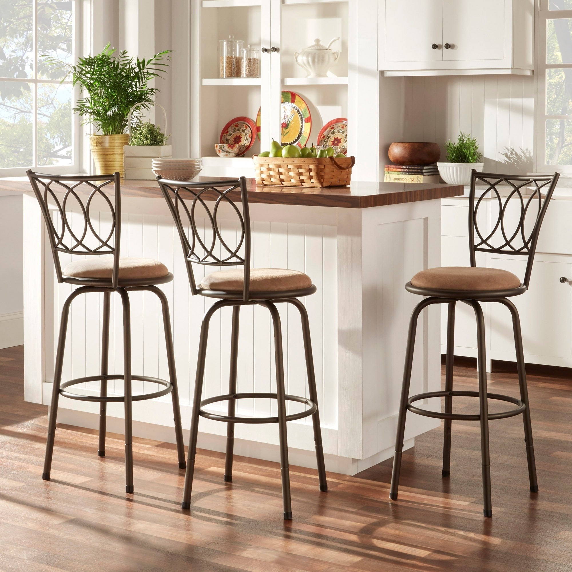 TRIBECCA HOME Avalon Scroll Adjustable Swivel Counter Barstool (Set of 3) at Sears.com